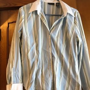 Button up blue and whit stripe with silver thread